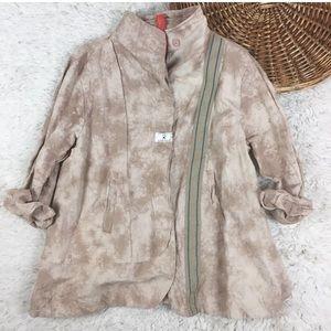 Ewa I Walla linen swing jacket Lagenlook tie dye